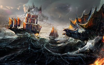 4k, dragon, sea, monsters, ships, waves, art