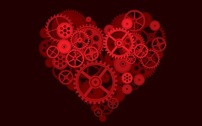 heart, 4k, art, love concept, gears, hearts