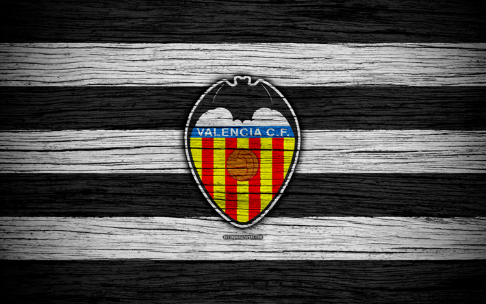Download Wallpapers Fc Valencia 4k Spain Laliga Wooden Texture