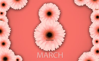 March 8, purple background, Happy Womens Day, spring, pink chrysanthemums, pink spring flowers, March 8 greeting card