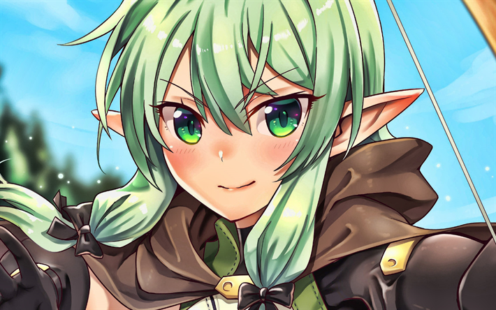 Yousei Yunde, girl with green hair, High Elf Archer, Goblin Slayer characters, manga, Goblin Slayer, Elf