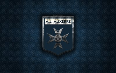 AJ Auxerre, French football club, blue metal texture, metal logo, emblem, Auxerre, France, Ligue 2, creative art, football