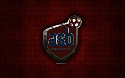 AS Beziers, French football club, red metal texture, metal logo, emblem, Beziers, France, Ligue 2, creative art, football