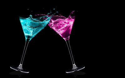 glasses on a black background, neon light, blue martini, pink martini, glasses