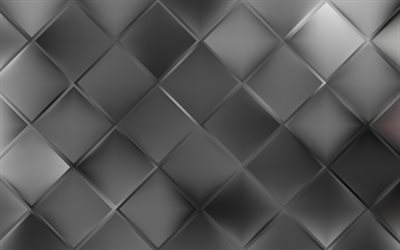 gray mosaic, 4k, artwork, mosaic texture, gray background, abstract textures, gray cubes texture, square texture, rhombuses