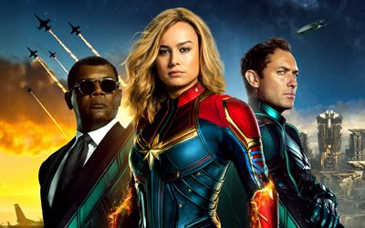 Captain Marvel, 2019, 4k, promo, all the main characters, Brie Larson, David Jude Heyworth Law, Samuel Leroy Jackson