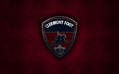 Clermont Foot 63, French football club, burgundy metal texture, metal logo, emblem, Clermont-Ferrand, France, Ligue 2, creative art, football