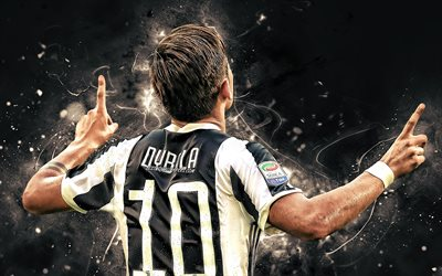 Dybala, back view, Bianconeri, Juventus FC, goal, football stars, argentinian footballers, soccer, Serie A, Juve, Paulo Dybala, neon lights