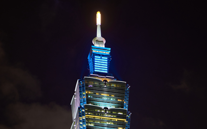 4k, Taipei 101, close-up, natt, skyskrapor, night city, moderna byggnader, Taiwan, Kina, Asien