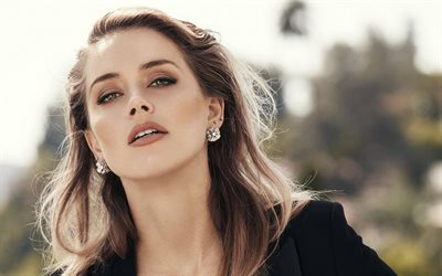 Amber Heard, American actress, Hollywood star, black costume, photoshoot, portrait, face, makeup