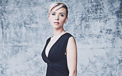 4k, Scarlett Johansson, 2019, black dress, Hollywood, american celebrity, beauty, Scarlett Ingrid Johansson, american actress, Scarlett Johansson photoshoot