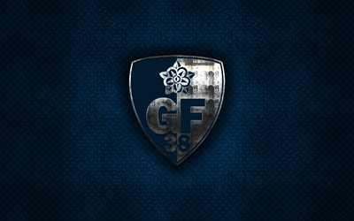 Grenoble Foot 38, French football club, blue metal texture, metal logo, emblem, Grenobble, France, Ligue 2, creative art, football