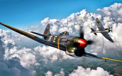 Hawker Tempest, British fighter, World War II, RAF, British Air Force, military aircraft, Royal Air Force, Second World War