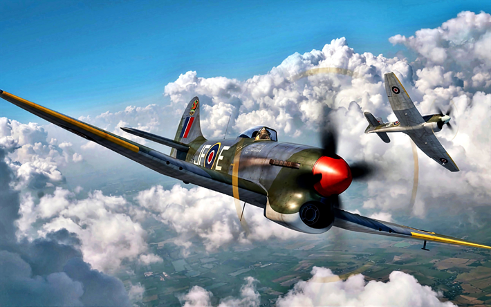 Download wallpapers Hawker Tempest, British fighter, World