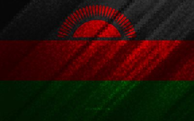 Flag of Malawi, multicolored abstraction, Malawi mosaic flag, Malawi, mosaic art, Malawi flag