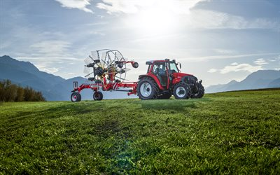 Lindner Lintrac 75 LS, HDR, picking grass, 2013 tractors, red tractor, agricultural machinery, agriculture, Lindner