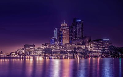 Amstel River, Amsterdam, Omval, evening, city lights, Amsterdam cityscape, Netherlands
