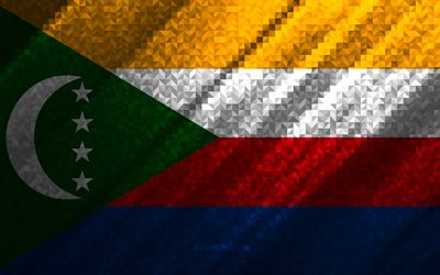 Flag of Comoros, multicolored abstraction, Comoros mosaic flag, Comoros, mosaic art, Comoros flag