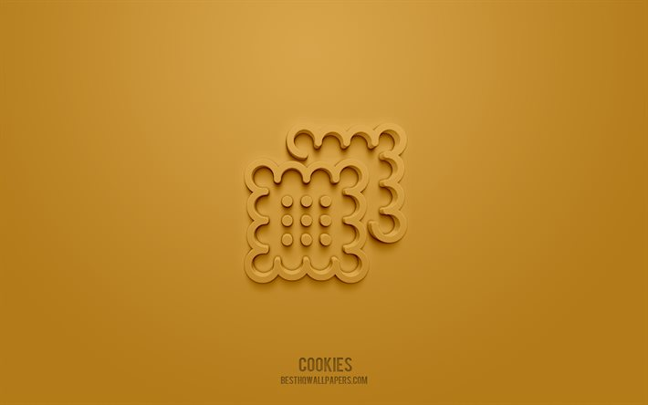 Cookies 3d icon, brown background, 3d symbols, Cookies, Food icons, 3d icons, Cookies sign, Food 3d icons