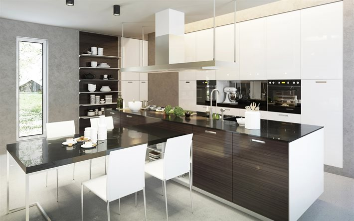 Modern kitchen, kitchen design, dark wood, minimalism