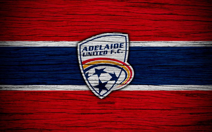 Adelaide United FC, 4k, soccer, A-League, football club, Australia, Adelaide United, logo, wooden texture, FC Adelaide United
