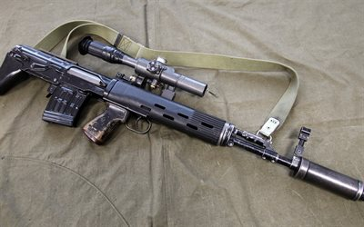 Dragunov SVU, SVU-AS, SVD sniper rifle, bullpup configuration, Sniper rifle, combat weapons, Russian rifles