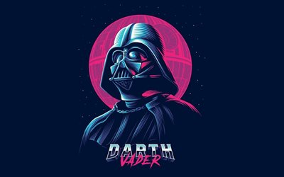 Darth Vader, Star Wars, art, characters, retro, Synthpop, Retrowave