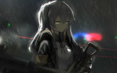 UMP45, darkness, artwork, SRPG, rain, manga, Girls Frontline