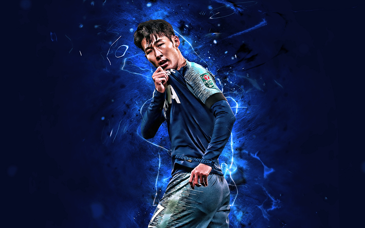 Download Wallpapers Son Heung-min, Blue Uniform, Tottenham