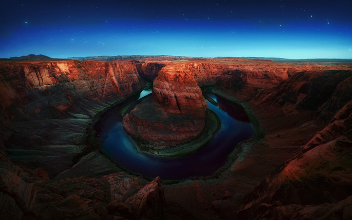 Download Wallpapers Horseshoe Bend Night Glen Canyon
