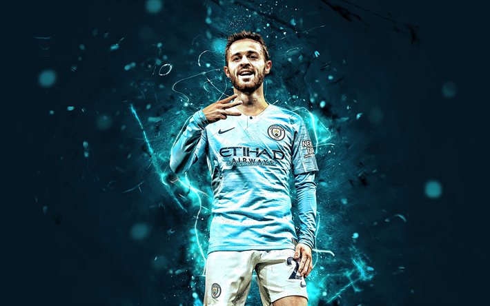 Download Wallpapers Bernardo Silva, Joy, Manchester City
