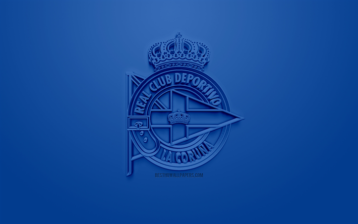 RCDeportivo, Deportivo de La Coruna, creative 3D logo, blue background, 3d emblem, Spanish football club, La Liga 2, Segunda, La Coruna, Spain, 3d art, football, 3d logo