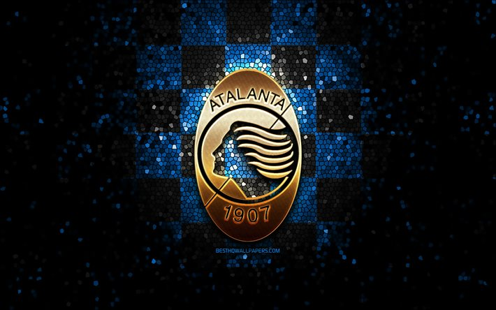 download wallpapers atalanta fc glitter logo serie a blue black checkered background soccer atalanta bc italian football club atalanta logo mosaic art football italy for desktop free pictures for desktop free download wallpapers atalanta fc