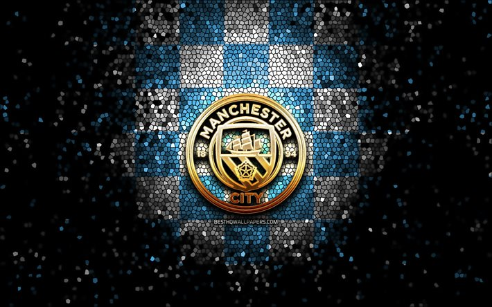 Download Wallpapers Manchester City Fc Glitter Logo Premier League Blue White Checkered Background Soccer Fc Manchester City English Football Club Manchester City Logo Mosaic Art Football England For Desktop Free Pictures For