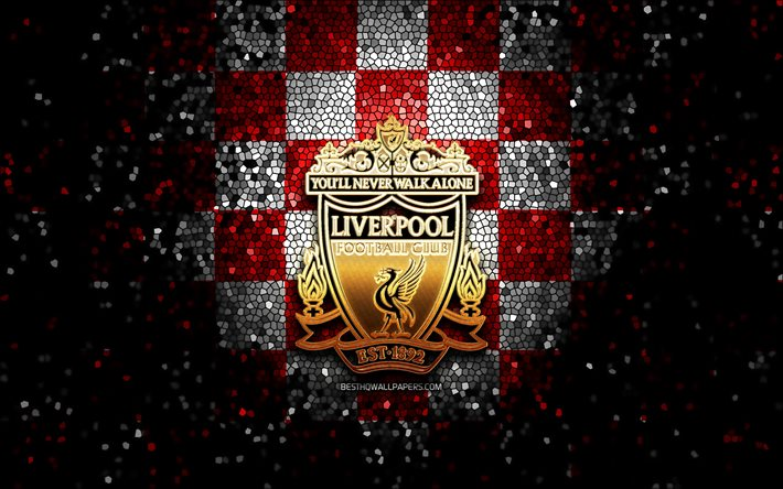 Download Wallpapers Liverpool Fc Glitter Logo Premier League Red White Checkered Background Soccer Fc Liverpool English Football Club Liverpool Logo Mosaic Art Football England Lfc For Desktop Free Pictures For Desktop Free