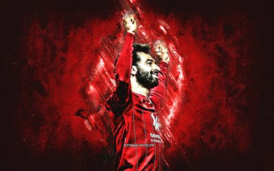 Mohamed Salah, portrait, Liverpool FC, Egyptian soccer player, Premier League, red stone background, football, creative art