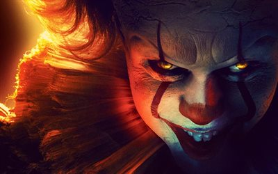 4k, Pennywise, fire, It Chapter Two, 2019 cars, Detective films, clown, fan art