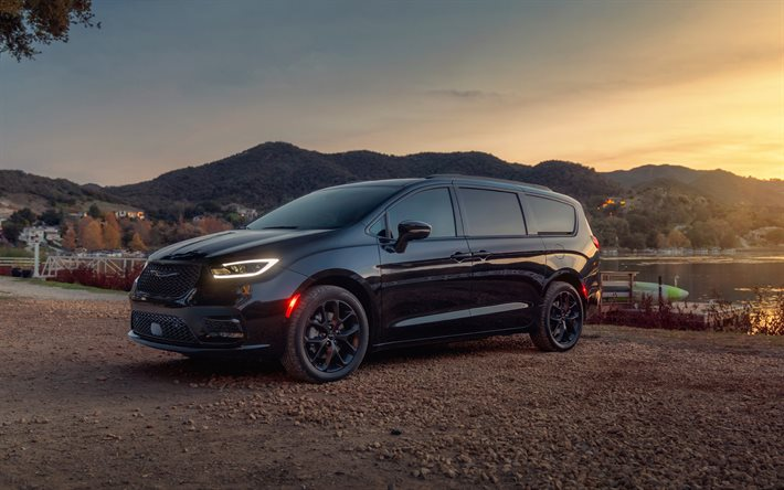 2021, Chrysler Pacifica, front view, exterior, black minivan, new black Pacifica, american cars, Chrysler