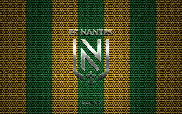 ダウンロード画像 FCナントのロゴ, フランスのサッカークラブ, 金属 ...