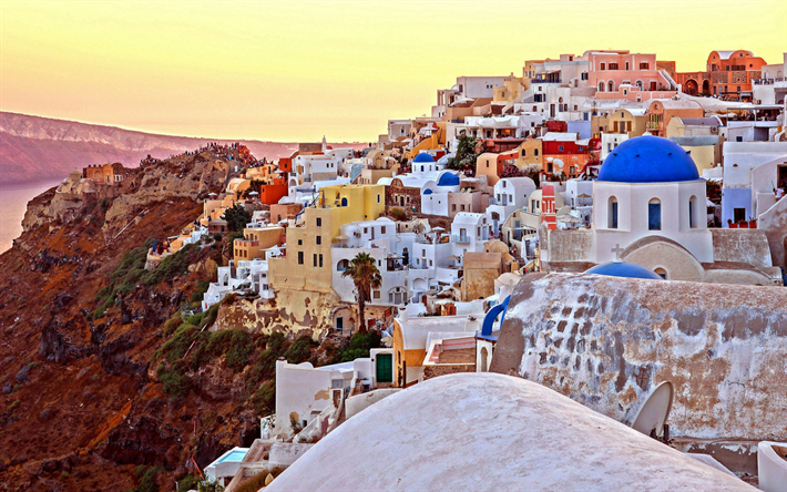 Santorini, evening, sunset, island, Oia, white houses, romantic places, Mediterranean Sea, Aegean Sea, Greece