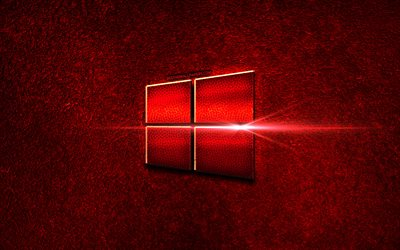 Windows 10, red metal logo, Microsoft, red metal background, creative, Windows 10 logo