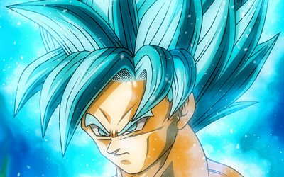 Super Saiyan Blue, close-up, Son Goku, 2019, blue fire, DBS characters, artwork, DBS, Super Saiyan God, anger goku, Dragon Ball Super, manga, Dragon Ball, Goku
