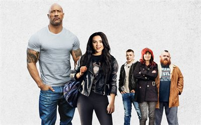 Fighting with My Family, 2019, poster, 4k, promotional materials, all characters, Dwayne Johnson, Florence Pugh, Zelina Vega