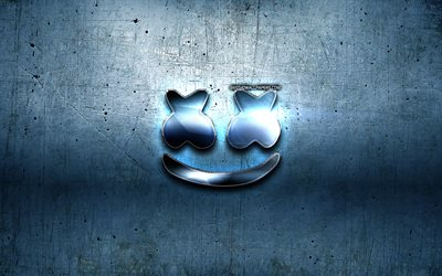 Marshmello blue logo, fan art, blue metal background, american DJ, Christopher Comstock, Marshmello logo, Marshmello, DJ Marshmello, DJs