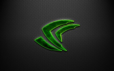 4k, Nvidia logo, black metal background, creative, Nvidia, brands, Nvidia 3D logo