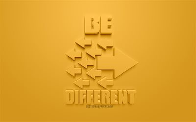 Be different, creative 3d art, yellow background, 3d arrows icons, be different concepts