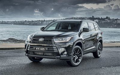 Toyota Kluger Black Edition, 4k, tuning, 2019 carros, XU50, 2019 Toyota Highlander, carros japoneses, Toyota