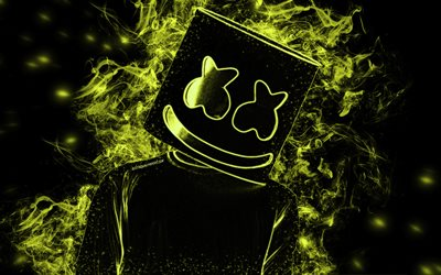 Marshmello, American DJ, lime neon art, lime smoke silhouette, creative art, black background