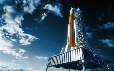 space rocket, NASA, takeoff platform, spacecraft, rocket