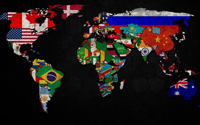 world map with flags, grunge, world map concept, artwork, creative, flags, world maps, art, world map